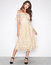 Little Mistress Beige Cold Shoulder Lace Dress