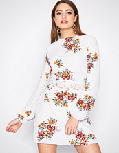 Ax Paris Cream Long Sleeve Floral Dress