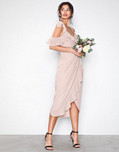TFNC Pink Elsa Midi Wrap Dress