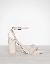 NLY Shoes Beige Rhinestone Block Sandal