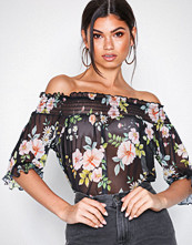 NLY Trend Mønstret Mesh Off Shoulder Top