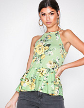 NLY Trend Mønstret Strappy Frill Top