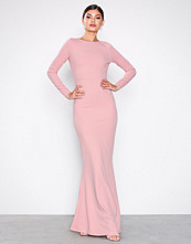 Missguided Blush Long Sleeve Open Back Maxi Dress