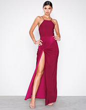 Missguided Red High Neck Tie Side Maxi Dress