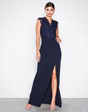 Ax Paris Navy Eyelash Lace Maxi Dress