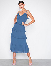 Michael Kors Chambray Mid Length Ruffle Dress