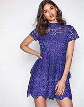 Missguided Blue High Neck Lace Skater Dress