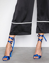 NLY Shoes Blå Lace Up Bow Sandal