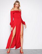 Missguided Red Bardot Satin Slip Maxi Dress
