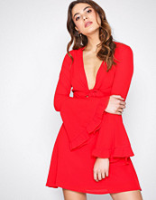 Missguided Red Tie Front Tea Dress