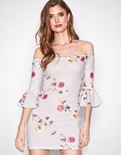 Missguided Grey Bardot Frill Sleeve Mini Dress