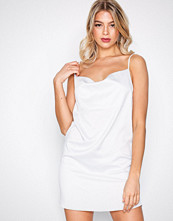 Missguided White Satin Strappy Shift Dress