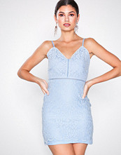 Missguided Blue Strappy Lace Mini Dress
