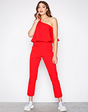 Missguided Red One Shoulder Bow Jumpsuit