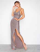NLY Eve Mauve Tight Strappy Gold Dress