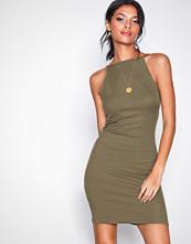 New Look Khaki Ribbed Sleeveless Dress