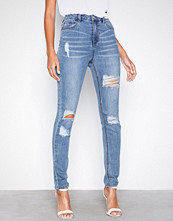 Missguided Blue Sinner Waisted Ripped Jeans