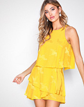 River Island Yellow SS Knot Playsuit