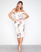 Ax Paris Cream Bardot Bodycon Midi Dress