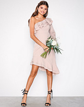 True Decadence Dusty Pink One Shoulder Frill Dress