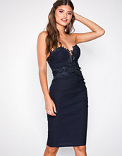 Rare London Lace Trim Midi Dress Navy