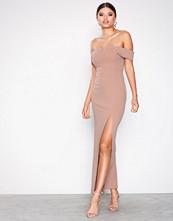 New Look Pale Pink Bardot Neck Split Side Maxi Dress
