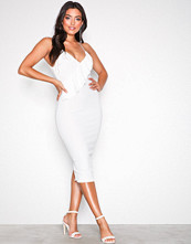 Ax Paris White Strappy Frill Midi Dress