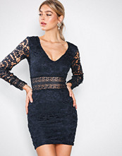 Ax Paris Navy Long Sleeve Lace Dress