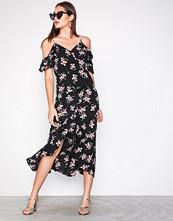 New Look Black Print Wrap Front Cold Shoulder Midi Dress