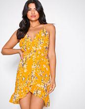 Parisian Yellow Frill Wrap Dress