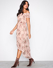 Parisian Pink Off-Shoulder Midi Dress