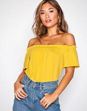 New Look Yellow Crepe Bardot Neck Top