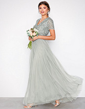 Maya Sage Cap Sleeve Tonal Sequin Maxi Dress