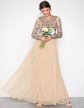 Maya Beige Embellished Bodice Maxi Dress