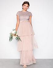 Maya Taupe Layered Cap Sleeve Maxi Dress