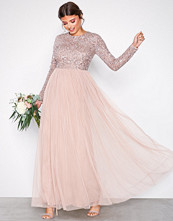 Maya Taupe Delicate Sequin Maxi Dress