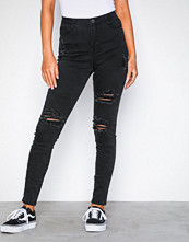 Missguided Black High Waisted Authentic Ripped Skinny