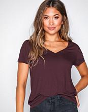 Vila Mørk lilla Vinoel S/S V-Neck T-Shirt-Noos
