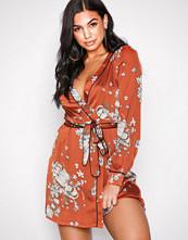 Missguided Rust Tie Waist Kimono Mini Dress