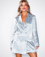 Missguided Blue Metallic Tailored Tuxedo Dress