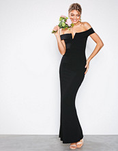Missguided Black Crepe Bardot V Plunge Maxi Dress