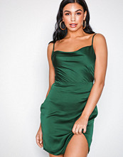 Missguided Emerald Satin Strappy Cowl Neck Mini Dress