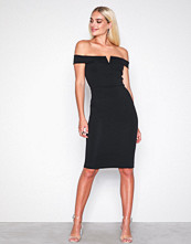 Missguided Black V Front Bardot Midi Dress