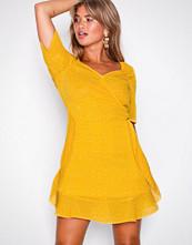 Missguided Yellow Chiffon Polka Dot Mini Dress