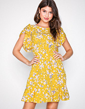 Ax Paris Yellow Waisted Mini Dress