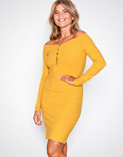 NLY Trend Mustard Sweetheart Rib Dress