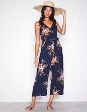 Ax Paris Navy Strappy Floral Jumpsuit