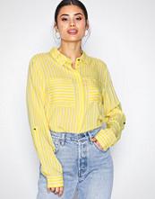 Jacqueline de Yong Mörk Gul Jdyelaine L/S Stripe Shirt Wvn