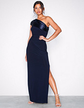 Lauren Ralph Lauren Navy Thimba One Shoulder Eveni