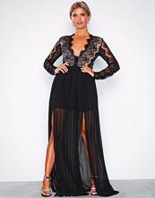 Rare London Black Long Sleeve Lace Dress